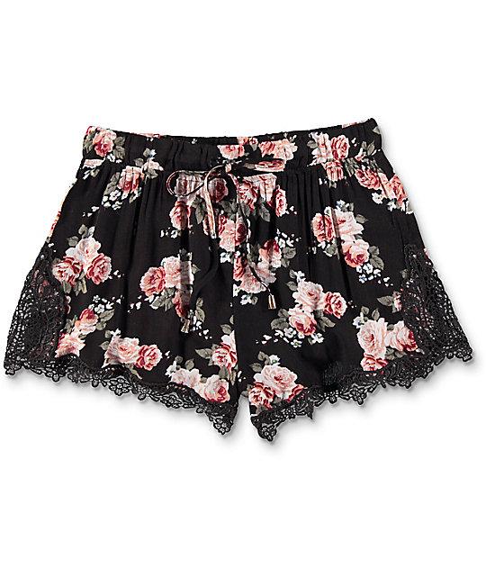 Trillium Demia Floral Crochet Shorts