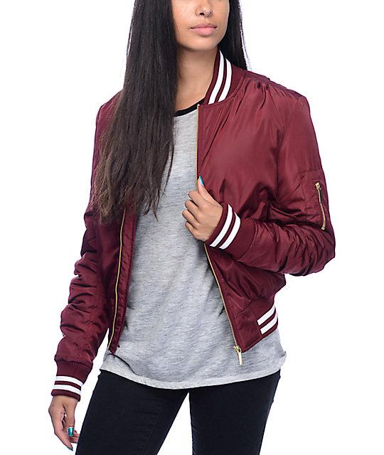 Trillium jana burgundy athletic trim bomber jacket zumiez