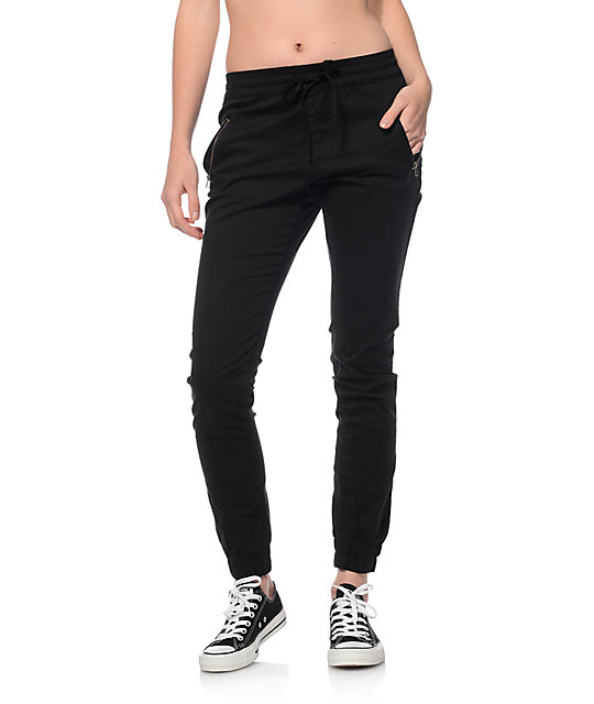 Trillium Jane Black Twill Zipper Joggers