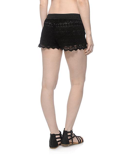 Trillium Jessica Black Crochet Shorts