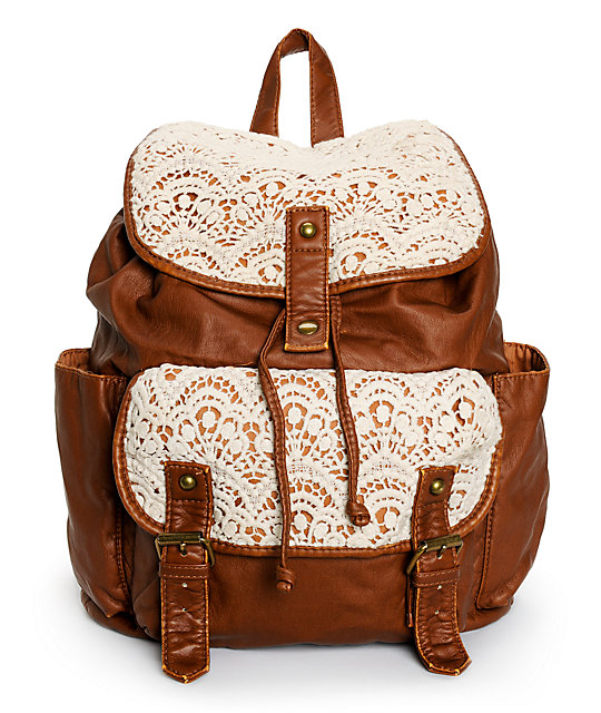 Trillium Kara Crochet & Faux Leather Rucksack Backpack | Zumiez