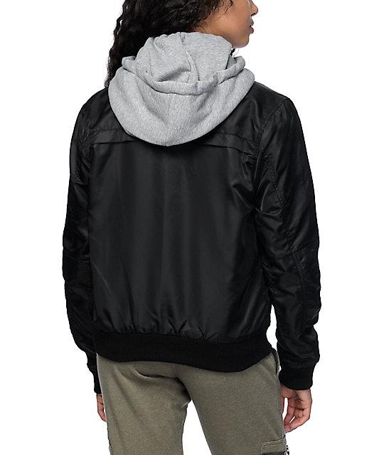 Trillium Mika Black Bomber Fleece Hooded Jacket