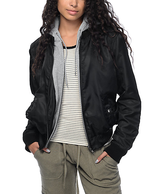 Trillium Mika Black Bomber Fleece Hooded Jacket at Zumiez : PDP
