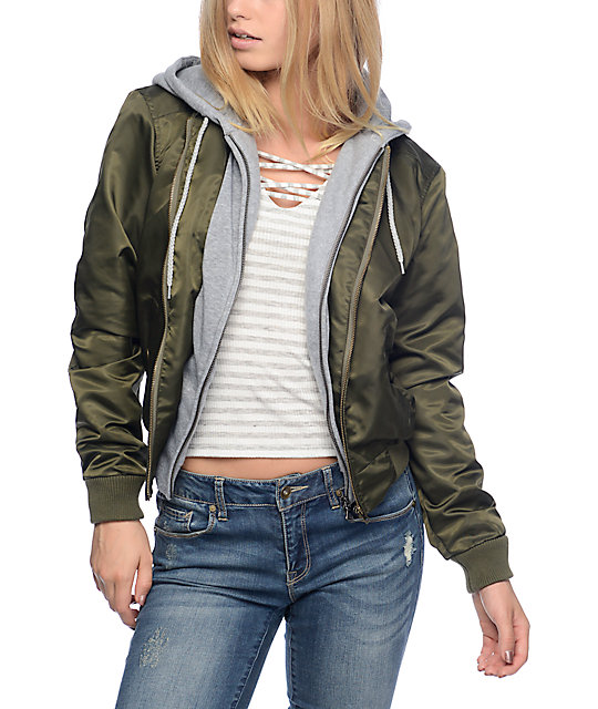 Trillium Mika Olive Bomber Fleece Hooded Jacket at Zumiez : PDP