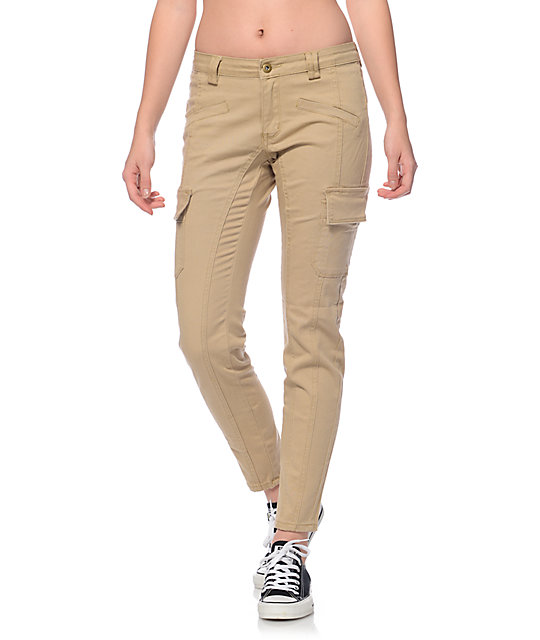 Trillium Nala Khaki Cargo Pocket Skinny Pants at Zumiez : PDP