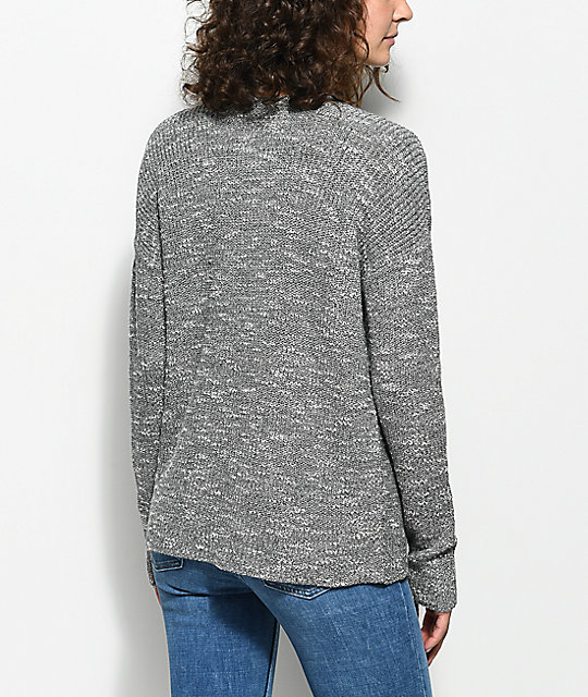 Trillium Shania Lace Up Charcoal Sweater