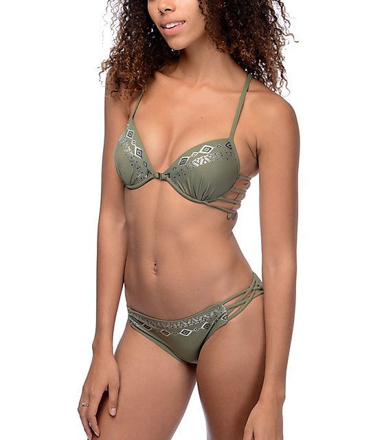 Trillium Wild Child Olive Molded Cup Bikini Top