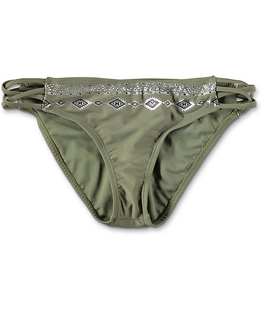 Trillium Wild Child Olive Side Strap Bikini Bottom