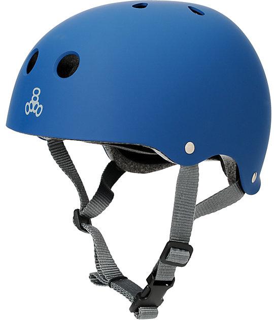 Triple Eight Blue Rubber Skateboard Helmet