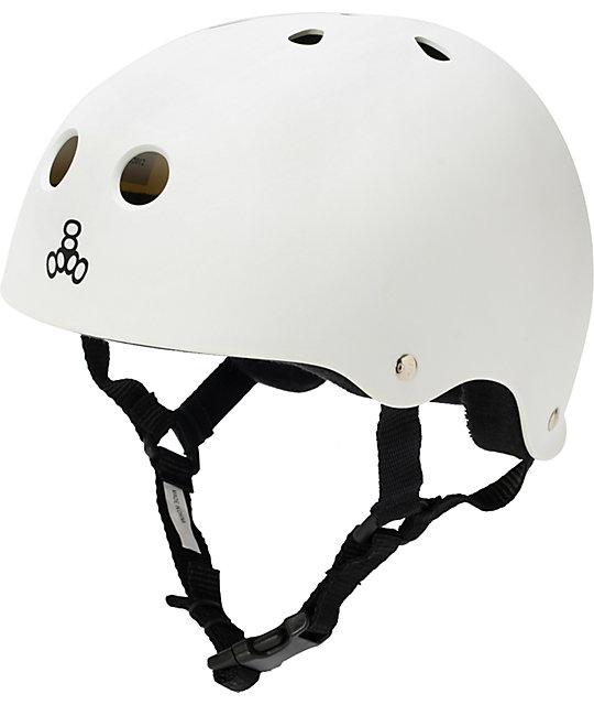 Triple Eight Brainsaver Matte White Rubber Skateboard Helmet