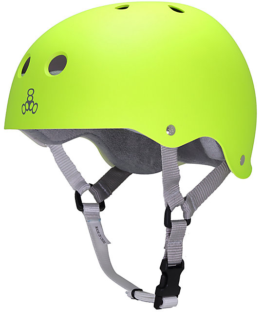 Triple Eight Zest Rubber Neon Green Skateboard Helmet