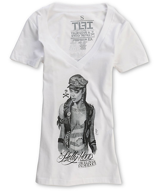 True Love & False Idols Angel White V-Neck T-Shirt
