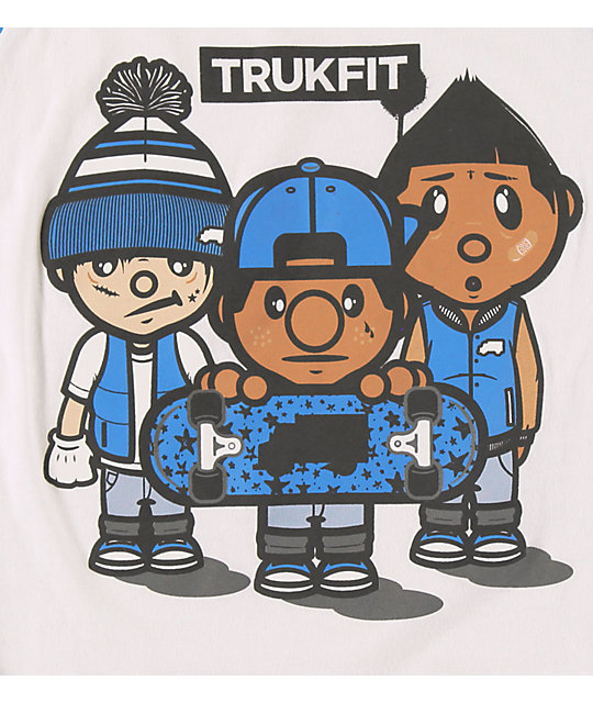 Trukfit Boys 3 Times Dope Blue & White Baseball T-Shirt