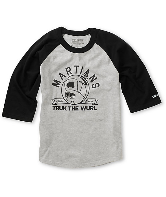 Trukfit Boys Feelin Spacey Grey & Black Baseball T-Shirt