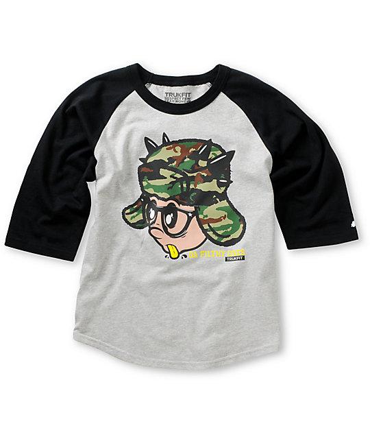 Trukfit Boys Krinks Camo Grey & Black Baseball T-Shirt