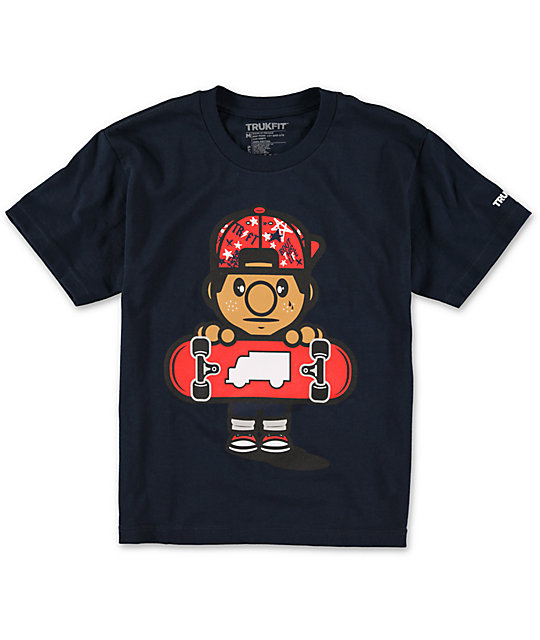 Trukfit Boys Lil Tommy Fill Navy T-Shirt