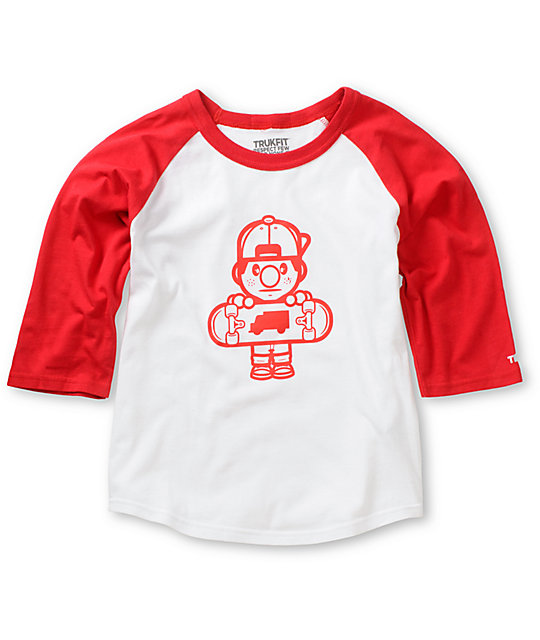 Trukfit Boys Lil Tommy White & Red Baseball T-Shirt