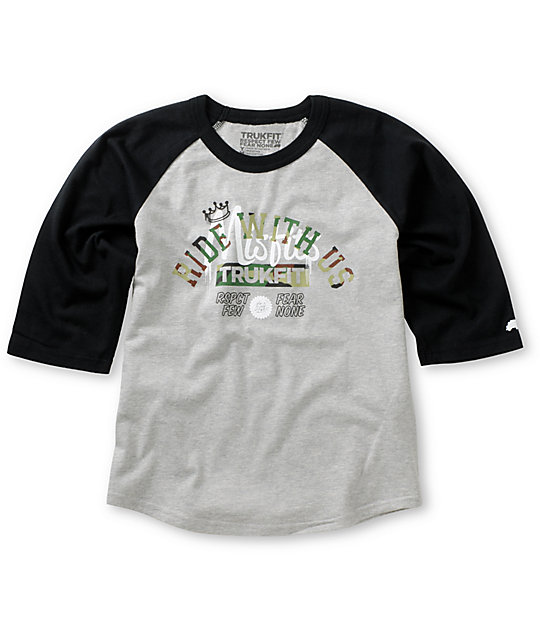 Trukfit Boys Misfits Ride Grey & Black Baseball T-Shirt