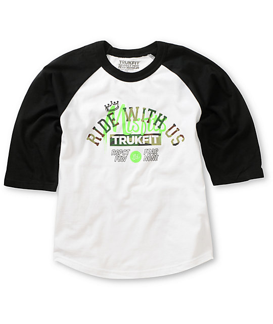 Trukfit Boys Misfits Ride White & Black Baseball T-Shirt