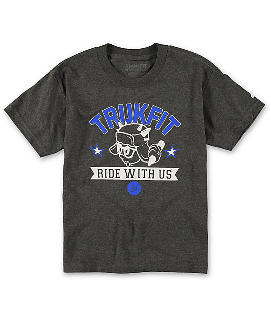 Trukfit Boys Ride With Us Charcoal T-Shirt