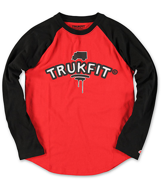 Trukfit Boys TRKFT Red & Black Baseball T-Shirt