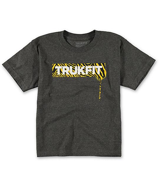 Trukfit Boys Zebra Logo Charcoal T-Shirt