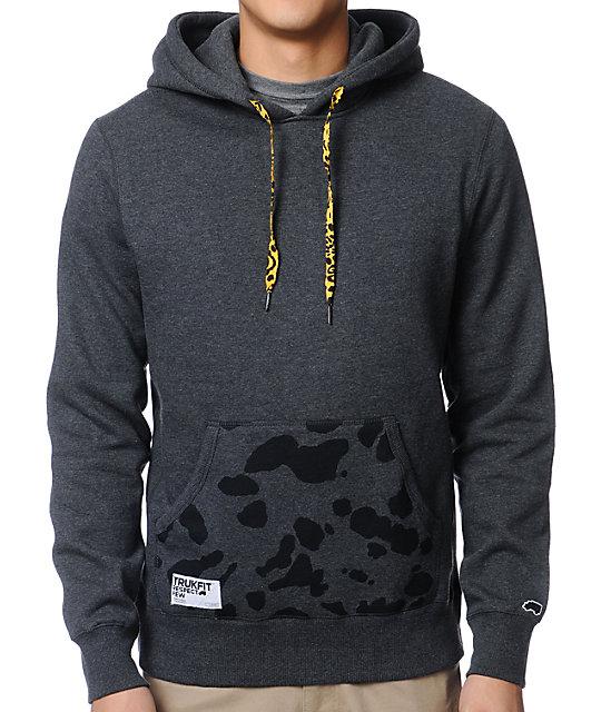 Trukfit Charcoal Printed Pocket Pullover Hoodie