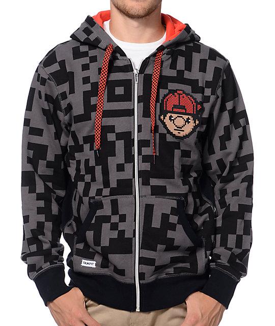 Trukfit Digital Black & Charcoal Full Zip Hoodie