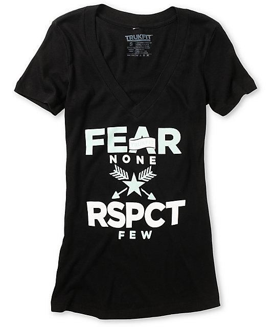 Trukfit Fear None Black V-Neck T-Shirt