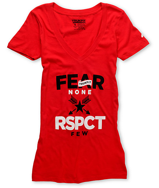 Trukfit Fear None Red V-Neck T-Shirt
