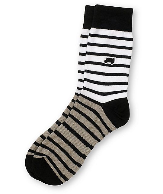 Trukfit Feeder Yarn White & Grey Crew Socks