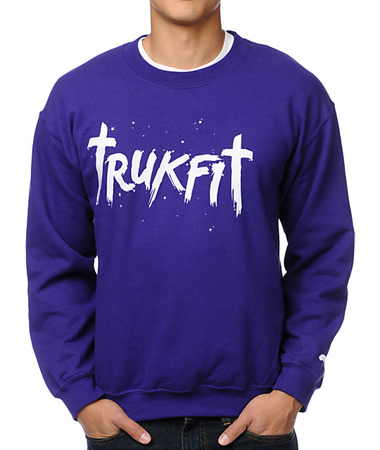 Trukfit Galaxy Purple Crew Neck Sweatshirt