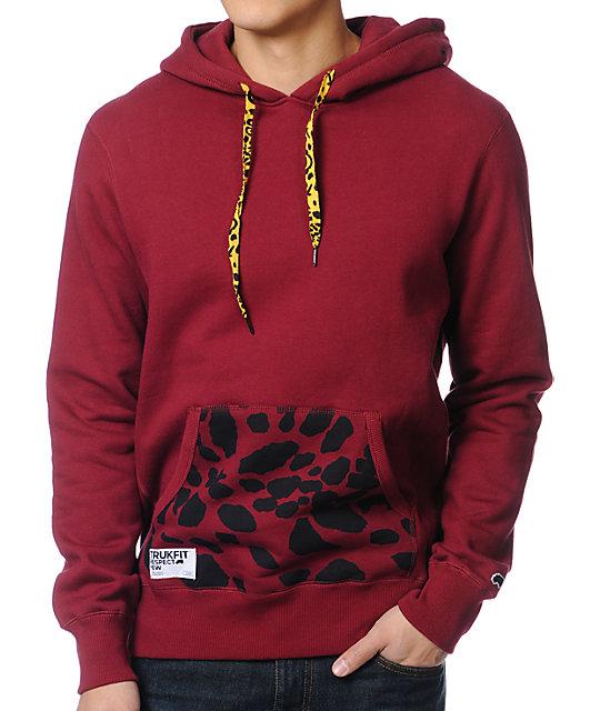 Trukfit Maroon Printed Pocket Pullover Hoodie