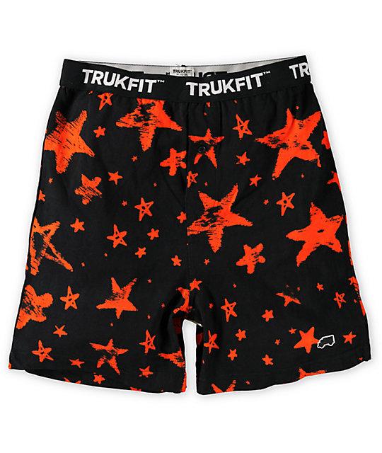 Trukfit Orange Stars Black Knit Boxers