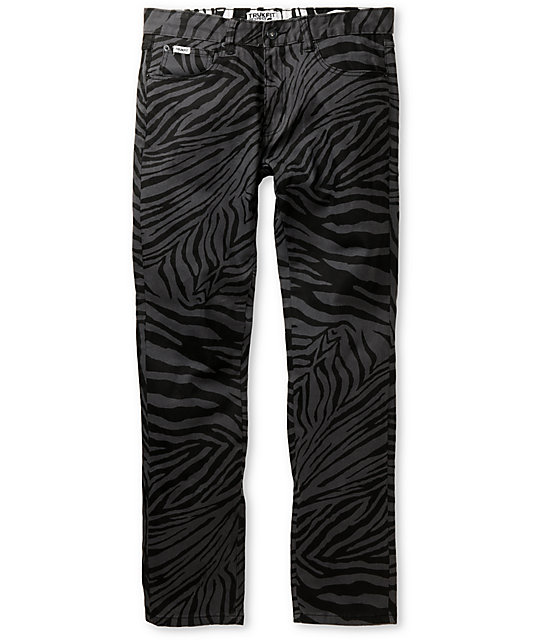 Trukfit Original Grey & Black Zebra Print Super Skinny Jeans