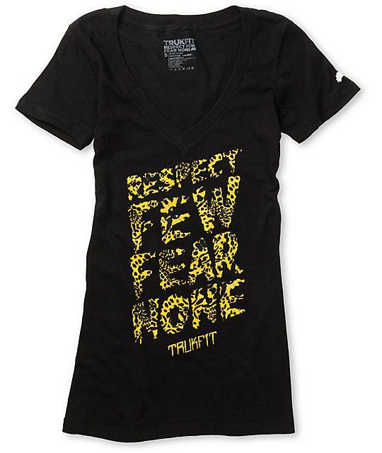 Trukfit Respect Few Leopard Black V-Neck T-Shirt