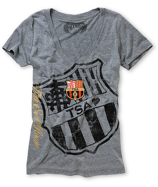 Truth Soul Armor Barcelona Grey Short Sleeve V-Neck T-Shirt