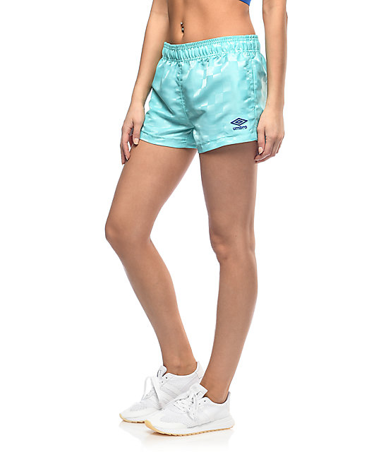 Umbro Checkerboard Aqua Athletic Shorts