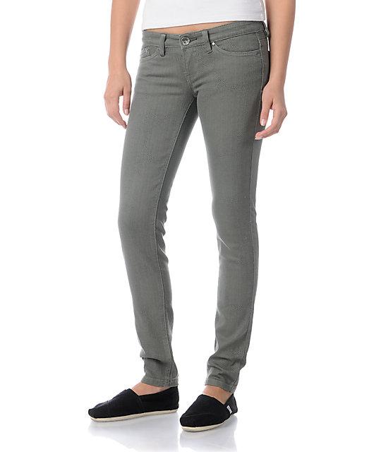 Unionbay Gargoyle Python Print Olive Green Skinny Jeans