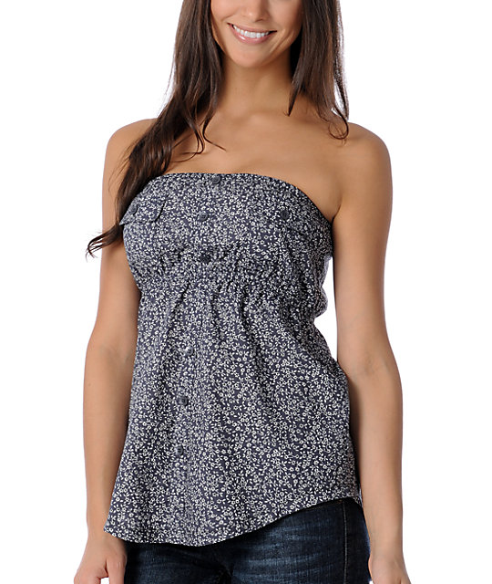 Unionbay Seaport Grey Floral Tube Top