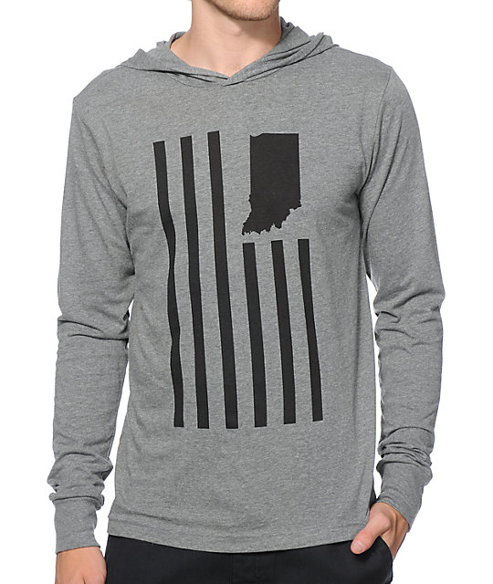 United State Of Indiana Flag Hooded Shirt