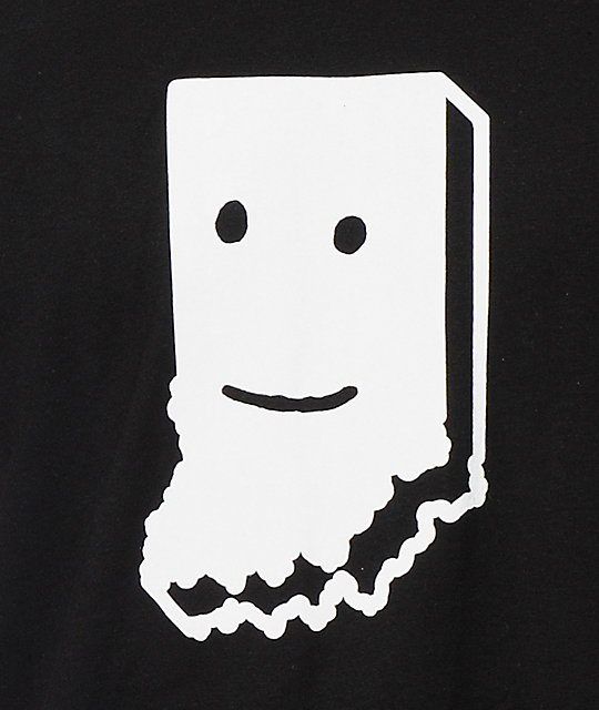 United State Of Indiana Smiling Black T-Shirt