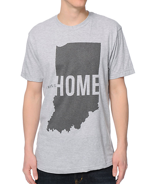 United State Of Indiana This Is Home Grey T-Shirt