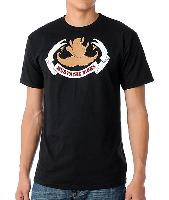 Upper Playground Mustache Rides Black T-Shirt