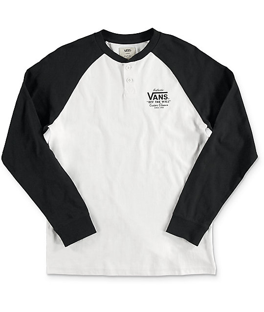 Boys Denton White & Black Long Sleeve T-Shirt