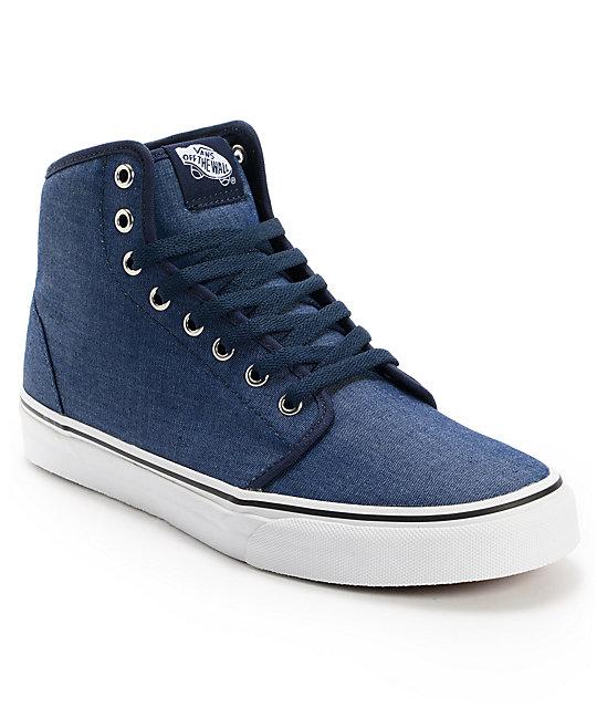 Vans 106 Hi Chambray Navy Skate Shoes