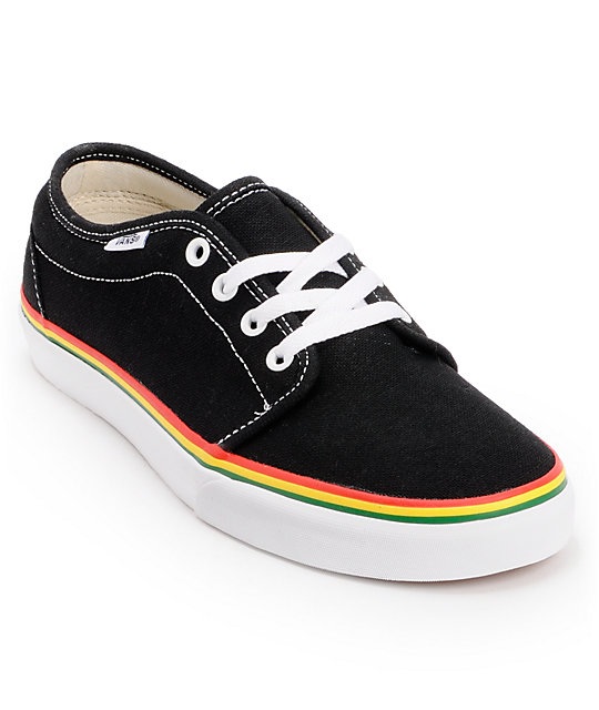 Vans 106 Vulc Black & Rasta Hemp Skate Shoes (Mens)