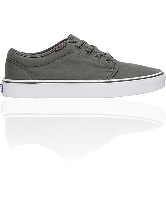 Vans 106 Vulcanized Grey & Purple Skate Shoes (Mens)