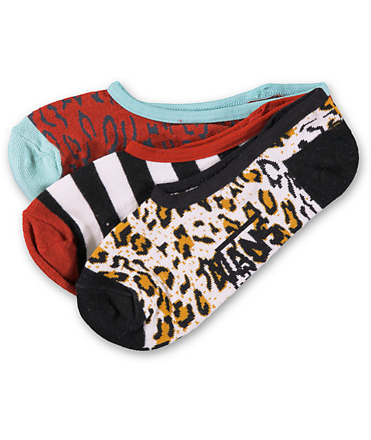 Vans 3 Pack Animal Canoodle No Show Socks