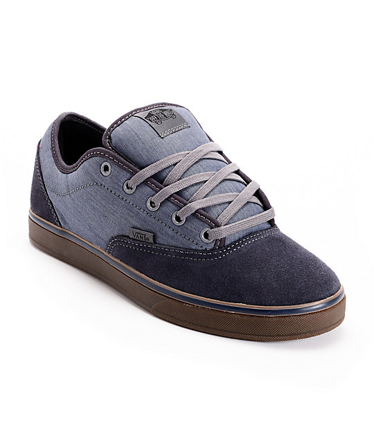 Vans AV Era 1.5 Chambray Navy & Gum Skate Shoes (Mens)